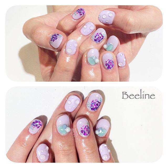 スタッフネイル♡梅雨だけどテンションあげる紫陽花ネイルです♪♪♪♪♪紫のシェルでキラキラの紫陽花と、水滴をたくさん