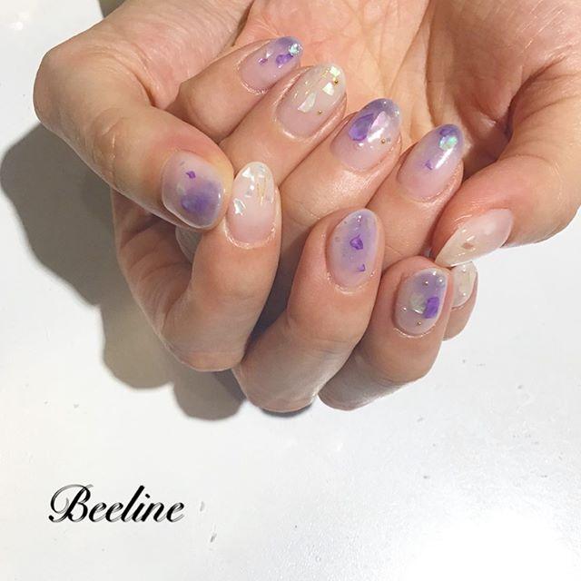 お客様ネイル紫のグラデーション紫のシェル